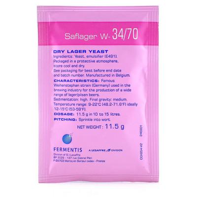 Дрожжи пивные SAFLAGER W34/70 (низового брожения) 11,5 гр.