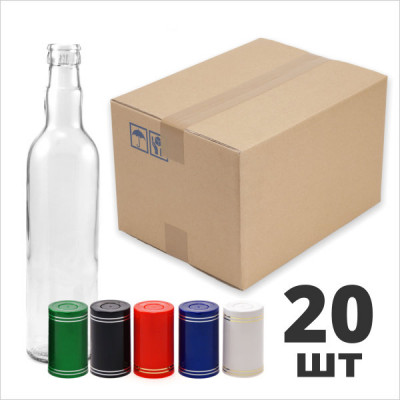 "Бутылка водочная 0,5 л. круглая с пробкой ""Гуала"" 20шт. Коробка"