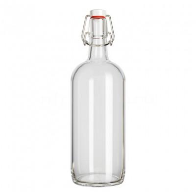 Бутылка с бугельной пробкой Бомба, 1 л. (ПРОЗРАЧНАЯ)