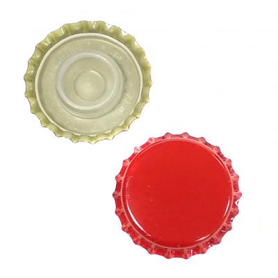 Кроненпробки Италия, Красные с уплотнителем (бидюль), 1 шт. (29 мм)