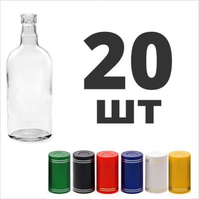 """Бутылка 0,5 л. фляжка (финская) с пробкой """"Гуала"""" 20 шт.  Спайка"""