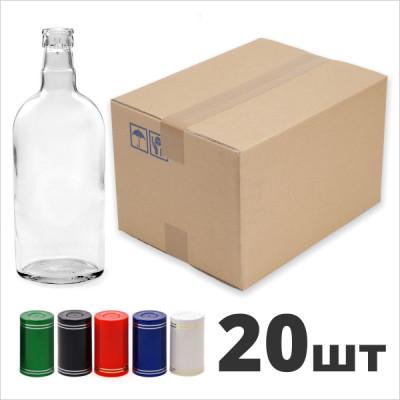 """Бутылка 0,5 л. фляжка (финская) с пробкой """"Гуала"""" 20 шт.  Коробка"""